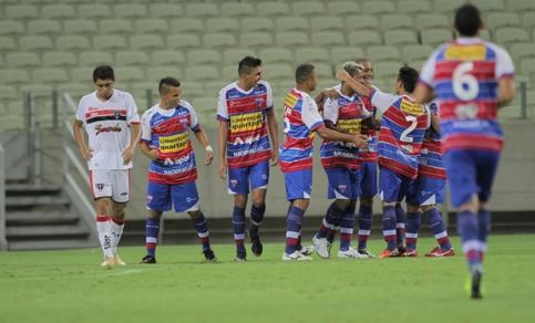 Atletas do Fortaleza comemoram mais um gol tricolor